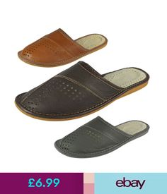 Mens Genuine Leather Slippers Shoes Mules Hand Made Various Colours Size 6-13