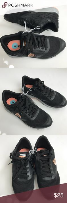 RBX Athletic Sneakers Black Size 6 These black RBX athletic sneakers are NWT.  Orange Peach logo and bottoms.  Size 6. RBX Shoes Athletic Shoes