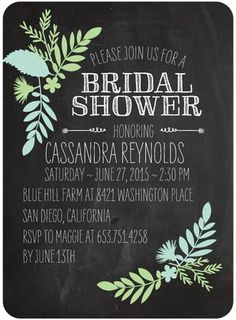 Signature White Bridal Shower Invitations Chalked Leaves - Front : Honeydew