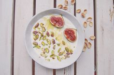 Greek yogurt with pistachios, figs and drizzle of honey