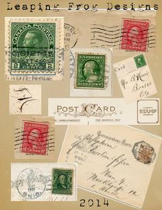 Leaping Frog Designs: Vintage Stamps Collage Sheet For You From Leaping Frog Designs