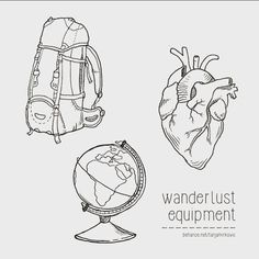 Having fun drawing these.. More on behance.net/tanjamirkovic #wanderlust #equipment #backpack #backpacking #heart #globe #drawing #illustration #the365drawings
