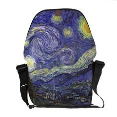 Van Gogh Starry Night, Vintage Post Impressionism Courier Bag.  $111.00