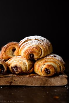 Extra flaky and buttery homemade chocolate croissants (Pain au Chocolat) are incredible warm from the oven. Recreate this French bakery classic at home with this recipe and video tutorial!