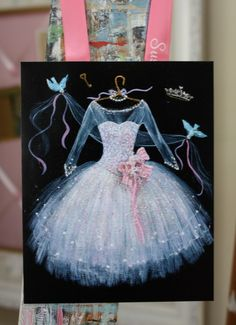 Small Pink Princess Dress 45x6 ORIGINAL art by SusanRiosDesigns, $6.95