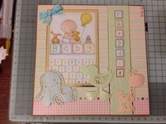 7x7 card for a friends new baby! Made using Hunkydory and Tattered Lace products