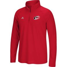 adidas Men's Carolina Hurricanes Logo Ultimate Red Performance Quarter-Zip Pullover, Size: Medium, Team