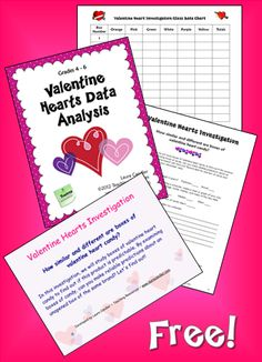 Corkboard Connections: Valentine Hearts Math Investigation - Free packet of teaching materials for teaching a lesson on range, mode, median and mean with valentine candy ---   http://tipsalud.com   -----