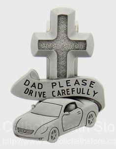 Man of God 2 inch Round Glass and Metal Auto Visor Clip