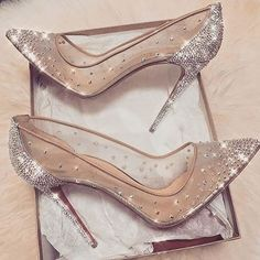 cinderella stiletto heels / glitter pumps / women's shoes from Louboutin Cute Shoes, Me Too Shoes, Prom Heels, Wedding High Heels, Sparkly Heels, Sparkly Wedding Shoes, Silver High Heels, Shoes For Prom, Shoes High Heels