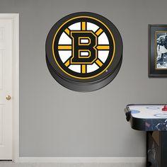 Boston Bruins Puck Logo REAL.BIG. Fathead Wall Graphic | Boston Bruins Wall Decal | Sports Home Decor | Hockey Bedroom/Man Cave/Nursery