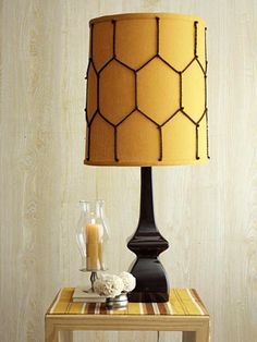 """Lampshade """"pattern"""" created with yarn"""