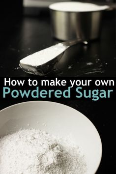 Making powdered sugar is a pretty simple process. Just grind together granulated sugar and cornstarch to make a homemade alternative. Make Powdered Sugar, Confectioners Sugar, Granulated Sugar, Easy Baking Recipes, Cake Recipes, Baking Ideas, Nutter Butter, Sugar Cubes, Homemade Desserts