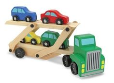 Wooden Car Carrier + FREE Melissa & Doug Scratch Art Mini-Pad Bundle [40969]