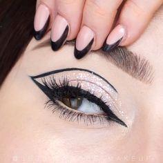 Makeup Eye Looks, Beautiful Eye Makeup, Eye Makeup Art, Smokey Eye Makeup, Skin Makeup, Amazing Makeup, Winged Eyeliner, Black Eyeliner Makeup, Smoky Eye