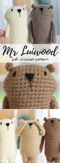 Mr Luiwood mini amigurumi PDF crochet pattern. He's so cute! He looks like a little gopher or groundhog! #etsy #ad