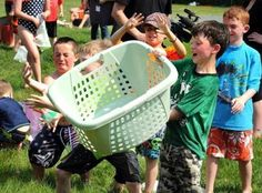 Jack Burt, 6, tried to catch the balloons with a laundry basket.