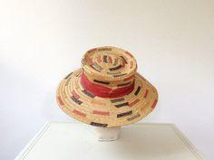 vintage+straw+hat+/+1960s+hat+/+Elba+straw+hat+by+nocarnations