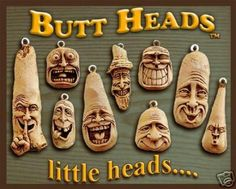 """Nancy Tuttle """"Initially I carved the Butt Heads from driftwood knots then made silicone rubber molds from these original carvings. Later each Butt Head was painstakingly hand-casted in resin and finished with a patina stain.  Each Butt Head come with a tag as seen in photo and are mounted  with a screw eye and a split ring to hang from.     This is one of the last remaining Butt Heads that I own  and I have NO intentions of ever making anymore!"""""""