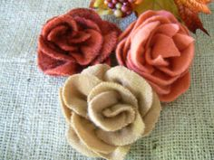 Sweater wool flower hair clips lapel pins fall colors repurposed wool sweater on Etsy, $30.00