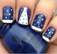Dark blue and white nails