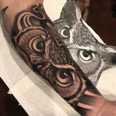 Is tattoo designs what you want? Learn more by reading this article :) Tiger Eyes Tattoo, Owl Eye Tattoo, Animal Sleeve Tattoo, Arm Sleeve Tattoos, Tattoo Sleeve Designs, Animal Tattoos, Owl Tattoos, Tattoo Ink, Fish Tattoos