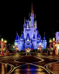 Cinderella castle at night, I want to go to Disney World Disney Vacations, Disney Trips, Disney Parks, Walt Disney World, Disney Pixar, Disney Nerd, Dream Vacations, Hades Disney, Disney Love