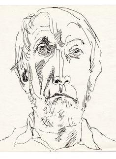 Autoportret - rysunek tusz