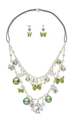 Jewelry Design - Double-Strand Necklace and Earring Set with Sterling Silver and Enamel Charms, Swarovski Crystal and Antiqued Sterling Silver Focal - Fire Mountain Gems and Beads