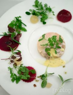 Rabbit & foie gras terrine with beet root and tarragon at La Rotisserie in Warsaw