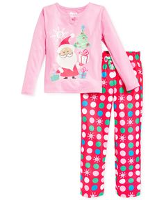 Sleep On It Girls  or Little Girls  2-Piece Santa Pajamas Kids - Macy s ed99494e9d1d