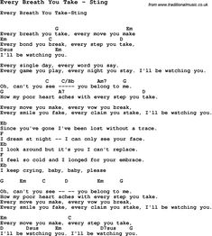Song Every Breath You Take by Sting, with lyrics for vocal performance and accompaniment chords for Ukulele, Guitar Banjo etc.