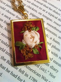 Hand Embroidered Silk Ribbon Rose Pendant, Silk Ribbon Embroidery by BeanTown Embroidery