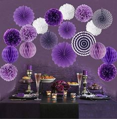 Hanging Paper Fan Set, Tissue Paper Pom Poms Flower Fan and Honeycomb Balls for Birthday Baby Shower Wedding Festival Decor - Purple Purple Party Decorations, Ball Decorations, Birthday Party Decorations, Baby Shower Decorations, Paper Pom Poms, Tissue Paper, Tulle Poms, Tulle Tutu, Baby Shower Purple