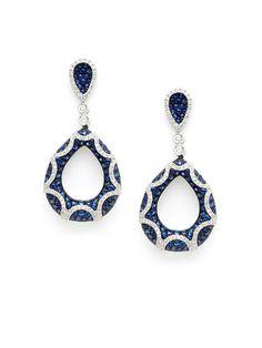 Diamond & Sapphire Double Teardrop Earrings by Vendoro at Gilt
