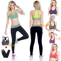 Women Yoga Fitness Stretch Workout Tank Top Bra + Pants Leggings Set Gym Sports
