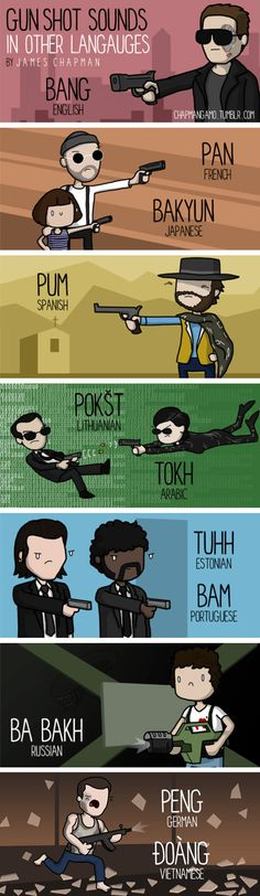 Pew! Pew! | Gun Shot Sounds in Other Languages | http://chapmangamo.tumblr.com/