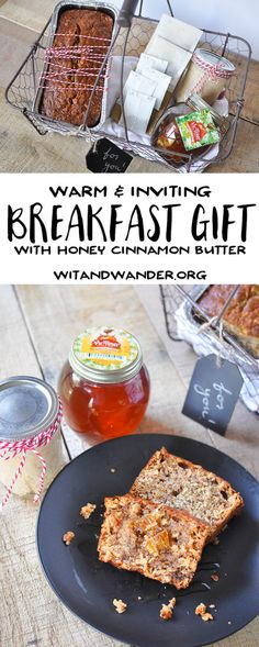 Warm Breakfast Basket Gift Idea made with Homemade Cinnamon Honey Butter, an assortment of teas, Don Victor Honey, and a delicious loaf of Banana Bread. - Wit & Wander