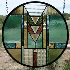 """All Ready SOLD !!!Stained Glass Window """" ARTS & CRAFTS """" Original,Southwest Contemporary, Beveling, Colorful Round,Stained Glass Panel by ZuniMountainArtGlass on Etsy https://www.etsy.com/listing/192697096/all-ready-sold-stained-glass-window-arts"""