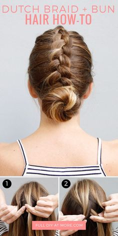 A DIY step-by-step tutorial showing you how to do the dutch braid and bun updo.