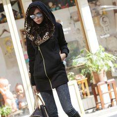 New Fashion Autumn Winter Women Ladies Leopard Hooded Fleece Jacket Zip Up o Neck Coat Outerwear M-4XL High Quality
