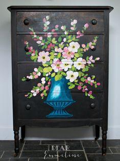Dear Emmeline: Vintage Floral Oil Painting Inspired Dresser