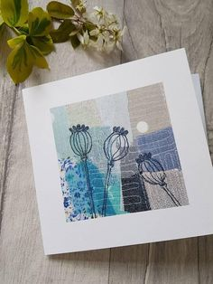 This card is a print of an original textile artwork made and designed by me, and depicts poppy seed heads. It has been printed onto 350gsm card, and has been left blank inside for your own message. Size 6 x 6 The card comes with a white envelope and is sealed in a clear cello