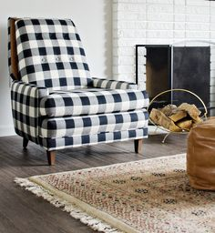 Wonderfully upholstered Black & White Buffalo Check Chairs. Brittany had a professional use fabric she purchased from Decorative Fabrics Direct (6110615 P Kaufmann Checkmate 012 Jet) emulating Schoolhouse Electric's Jack chairs. Well done! via brittany Makes