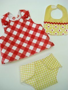 Free patterns and tutorials for baby doll diapers, dresses, and bibs.