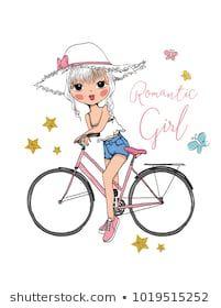 Vector de stock (libre de regalías) sobre La Bicicleta de Amo Niña Flora1257097261 Cute Vector, Little Girl Drawing, Romantic Girl, Cute Cartoon Girl, Bicycle Girl, En Stock, Portfolio, Little Girls, Girl Fashion
