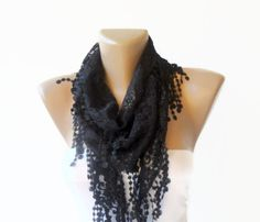 lace Black woman scarf , fashion trends ,Custom Design Scarf,  women scarves Mothers day gifts via Etsy