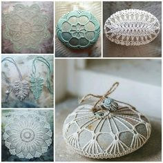 www.monicaj.etsy.com Crochet Stone, Crochet Cross, Crochet Art, Crochet Gifts, Crochet Patterns, Lace Doilies, Crochet Projects, Diy Projects, Stone Painting
