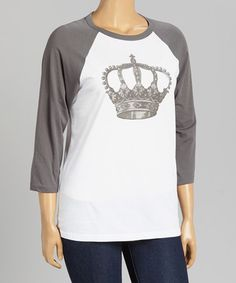 Look what I found on #zulily! Charcoal & White Crown Raglan Top - Plus #zulilyfinds
