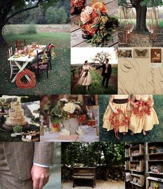 """Dinner Beneath the Trees"" wedding mood board"